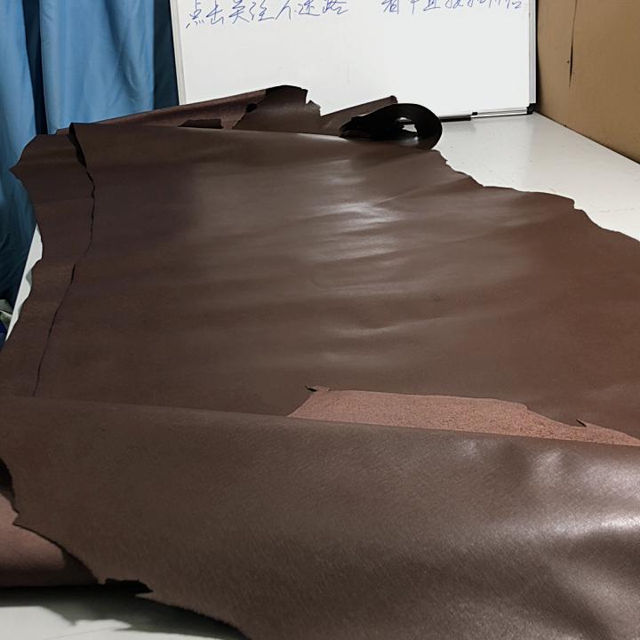 A1733 1.0-1.1咖啡色十字纹头层牛皮 薄挺 2张一起41.5平方英尺