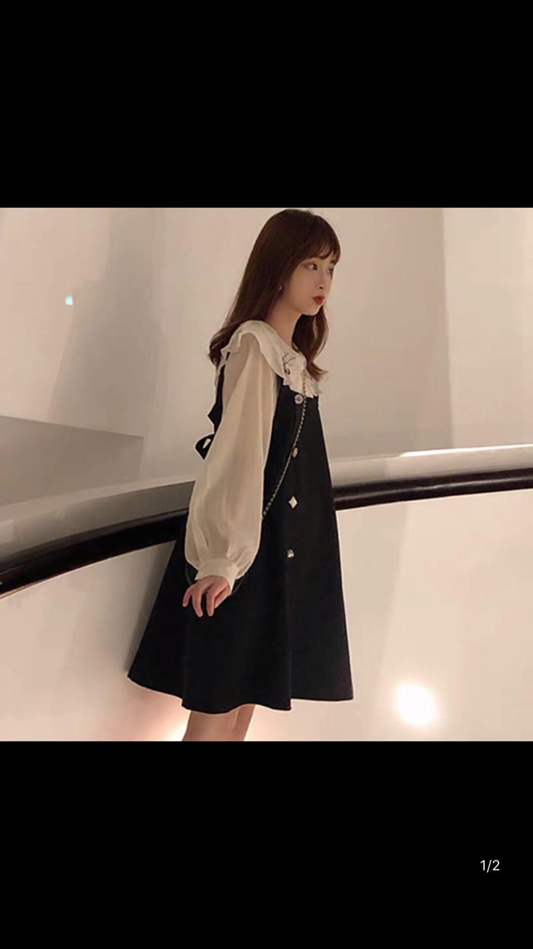 2019新款韩版学生春秋连衣裙小香风背带裙两件套装女仙女超仙