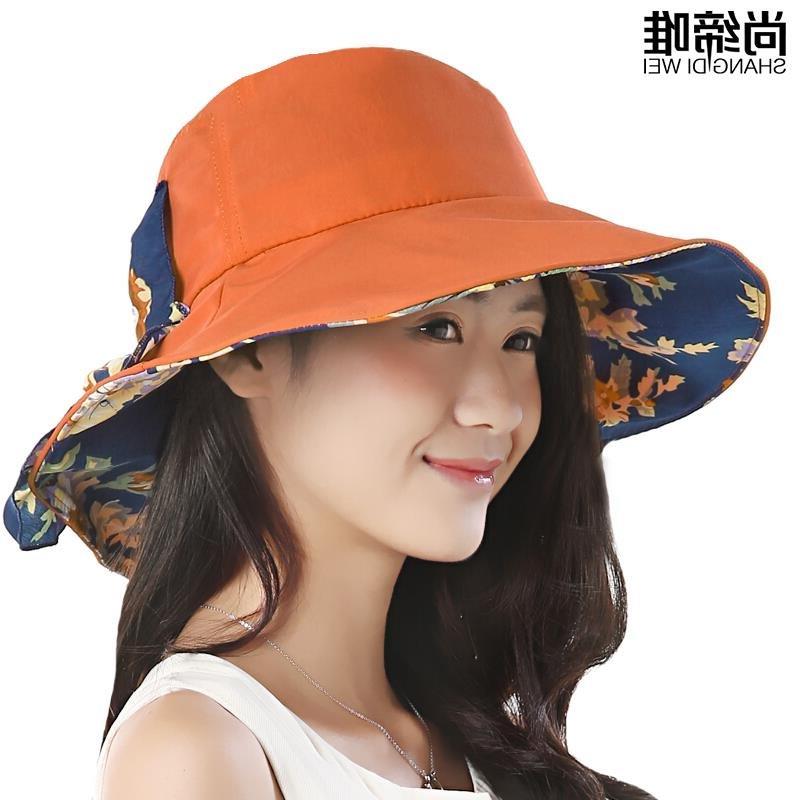 遮阳帽女夏天韩版防晒帽可折叠太阳帽大沿户外帽 魅力桔色