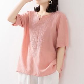 文艺复古纯色V领刺绣花亚麻棉衬衫棉麻短袖t恤女宽松大码套头上衣