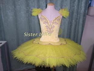 Sleeping Beauty ballet skirt custom made costumes professional stage performances yellow organza skirt plate adult TUTU