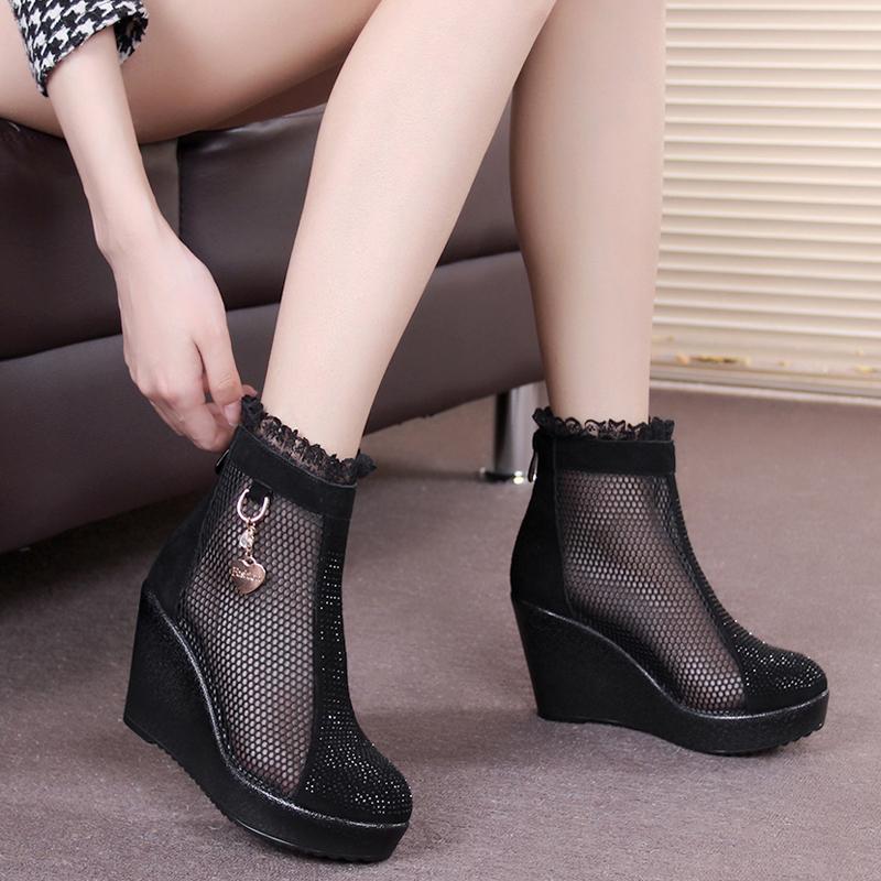 春夏女鞋真皮短靴坡跟鱼嘴鞋女靴单靴网纱靴子镂空透气网鞋妈妈鞋