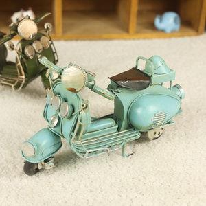 创意家居装饰品摆件 铁艺汽车模型 复古摩托车 咖啡店铺布置摆设