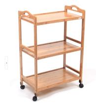 楠竹餐车推车置物架实木加厚有护栏带滑轮宾馆厨房储物移动手推车