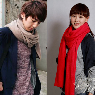 South Korean men and women thick cashmere shawl scarf solid color knit long autumn and winter days warm wool scarves couple