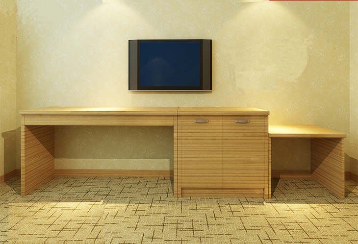 Custom Inn Hotel Room With Standard Sets Of Luggage Cabinet Table Desk Computers Minimalist Furniture Loading Zoom