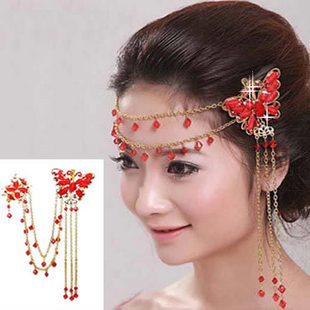 Bridal Wedding headchain accessories Indian style red Chinese headdress with cheongsam dress childrens Butterfly Hair Ornaments