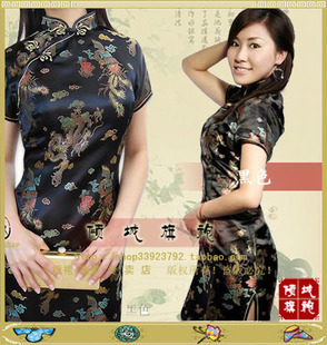 Allure short cheongsam dress Specials Dragon short sleeve cheongsam dress 6 color XL