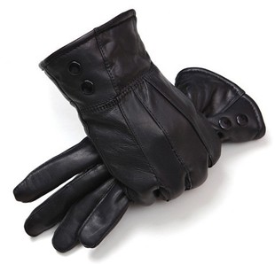 Men s leather gloves plus velvet thick warm cold winter cycling gloves thick cotton gloves female ski