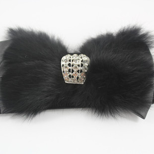 Korean version of the new retro diamond bow rabbit fur decoration Ms stretch elastic wide girdle belt