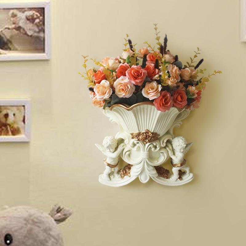 Европейский стиль настенные смолы стены украшение вазы цветок корзины украшения дома стене висит на стенах гостиной украшения