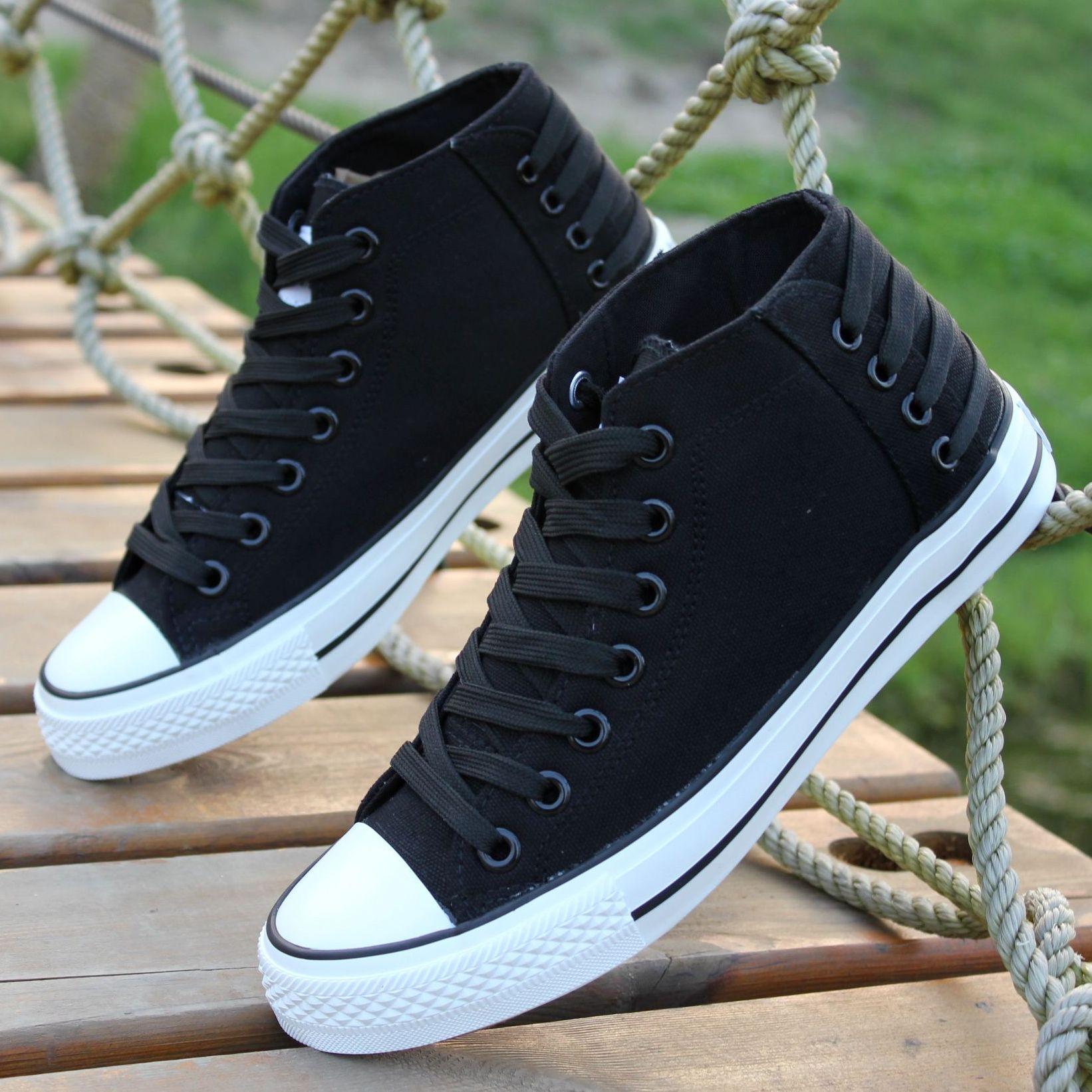 Лето, новый стиль холст обувь мужская обувь высокого топ кроссовки подростков мужского корейской версии вспышки черный халаты, обувь
