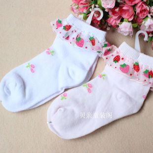 Spring 2015 children lace socks baby socks girls lace socks strawberry lace socks performance socks
