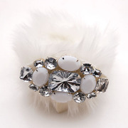 Smiling post Korea imitation rabbit hair new Crystal rhinestone alloy Bangle hand chain Korean jewelry