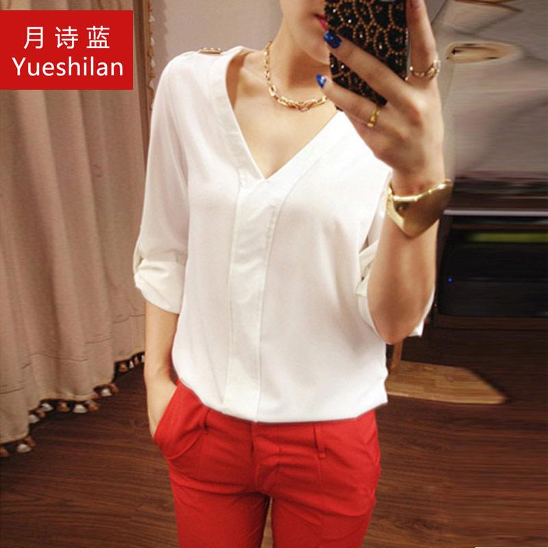 Плюс размер шифон рубашка женщина 2015 летом жира мм женский loose белая рубашка с короткими рукавами Корейский дамы Летняя куртка