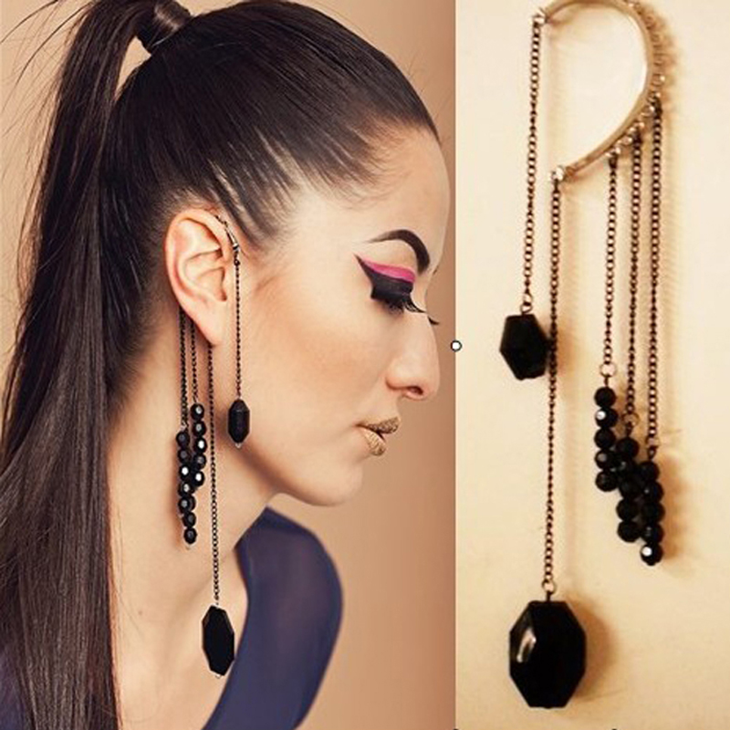 Europe and the United States exaggerate simple anti allergy ear hole eardrop tassel long fake earrings earrings painless ear clip