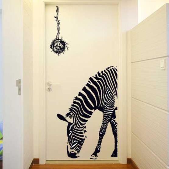 斑馬 客廳臥室走廊玄關門餐廳牆壁貼畫酒吧 裝飾牆貼紙