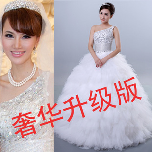 2015 newest luxury shoulder Diamond Slim Korean dress super luxury wedding dress trailing feather wedding dress