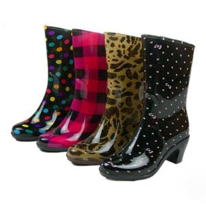 女鞋子 高跟雨靴 时尚水晶彩色雨鞋 中筒防水鞋套鞋防滑跟高6厘米