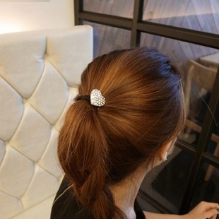 Exquisite lovely rhinestone hair accessories hair ring jewelry peach heart shaped pearl hair band rubber band hair ring hair rope rope