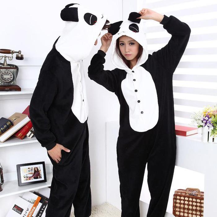 Бесплатная доставка Производители, продажа Panda фланелевой пижамы цельный пижамы милый мультфильм животных любителей сгущаться для костюм Осень/зима