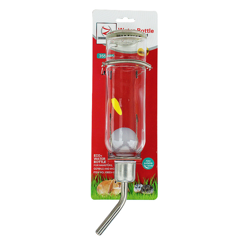 寵物玻璃飲水器喂水狗狗貓咪兔鼠飲水瓶自動掛式不鏽鋼飲水壺12