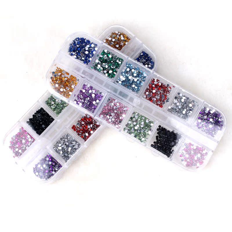 5 коробок пакет штамп ногтей искусство акриловые полу плоскодонной Бриллиант мобильных красоты ногтей наклейки 2 мм 3000 установлен