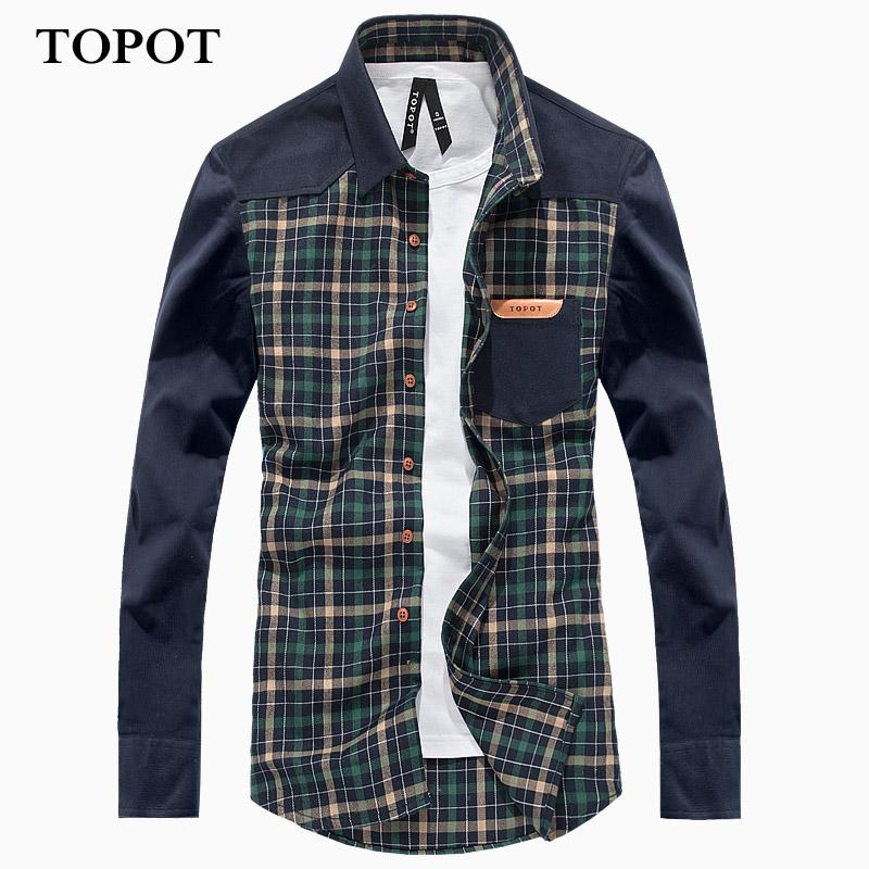 TOPOT осенью 2015 года мозаика случайные корейской моды Мужские рубашки плед вельвет мужские с длинным рукавом рубашки
