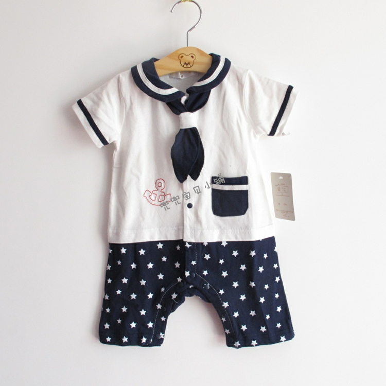 Foreign trade Japanese single original single infant Navy wind Jumpsuit climbing suit newborn cotton khaki