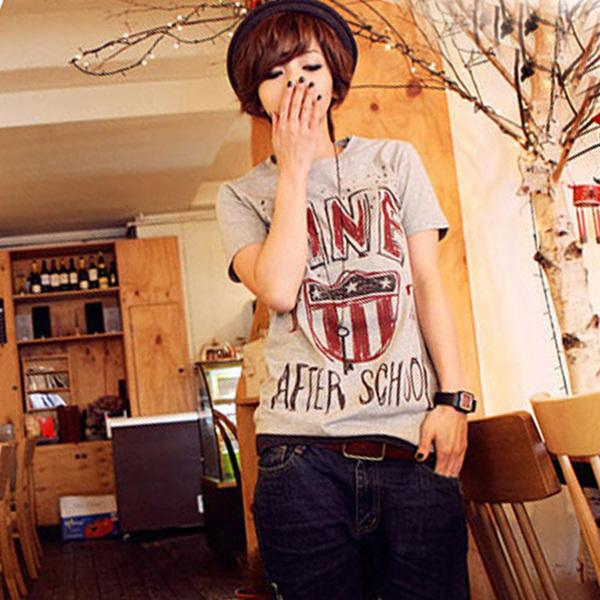 韩版时尚灰色纯棉圆领潮T恤