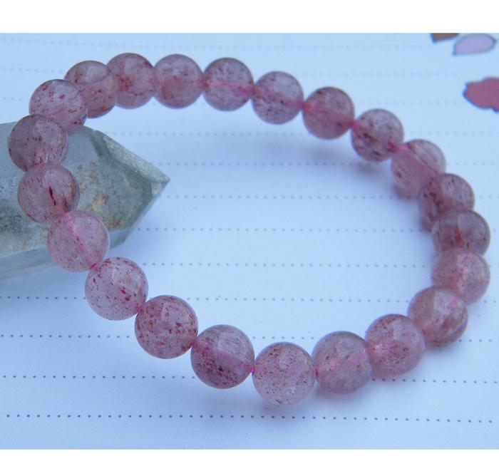 水玉冰魄 草莓晶手链 紫玫红玫瑰晶草莓石 士多啤梨水晶 实物