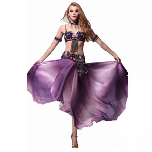 Fly charm Belly dance costumes theatrical performances beaded suit bra girdle arm set necklace skirt