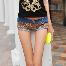 In the summer of 2014 the new ladies' ultrashort leopard splicing sexy low-cut jeans hot pants Wild short shorts
