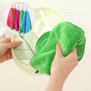 居家家 厨房抹布可挂珊瑚绒洗碗布 双面吸水不沾油不掉毛洗碗巾