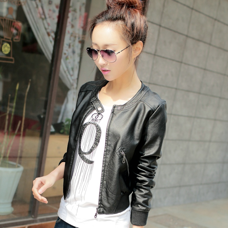 2016 new spring and autumn womens leather clothes womens short motorcycle Pu slim versatile leather jacket small leather clothes