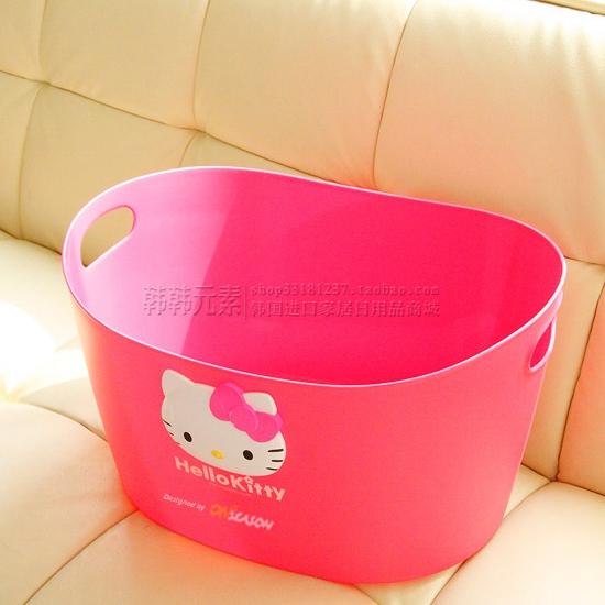 韩国进口 Hello Kitty 凯蒂猫 脏衣筐 收纳筐 收纳篮 立体猫头