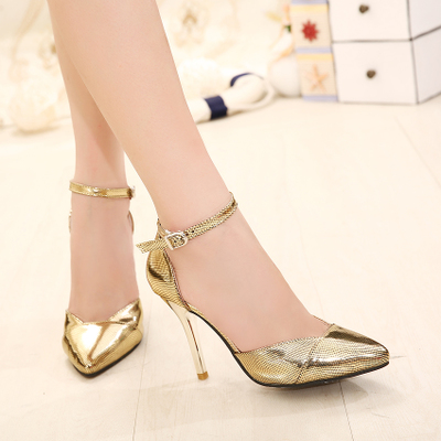 2016 sexy high noble shoes wedding night club gold silver as a princess's main photo