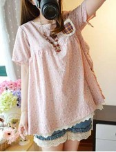 DNAAG Japanese sweet, female cotton round collar of tall waist easy broken beautiful short-sleeved shirt sleeve shirt female the doll