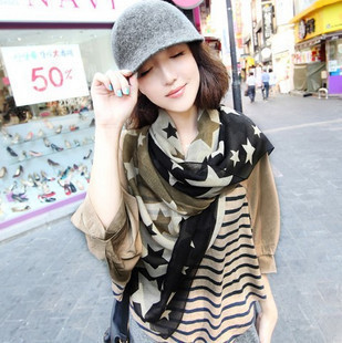 2014 new Korea Dongkuan asuka show large five pointed star star hit color Scarves shawls