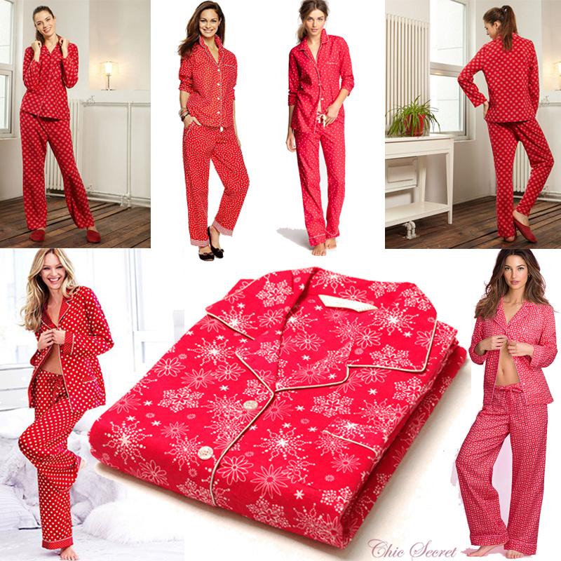 Весной и осенью экспорта секретный оригинальные чистого хлопка с длинным рукавом женщин большой красный снежинка пижамы, пижамы и loungewear женщин