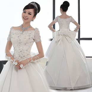 Korean luxury wedding word shoulder wedding dress Slim Puff fat mm large size wedding dress