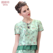Fine bi Linda 2015 spring/summer new women's European and American vintage crew neck printed stitching ruffled puff sleeve shirt