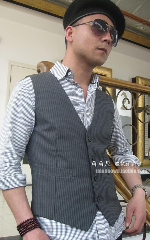 Mens grey vertical stripe casual suit vest British V-neck vest