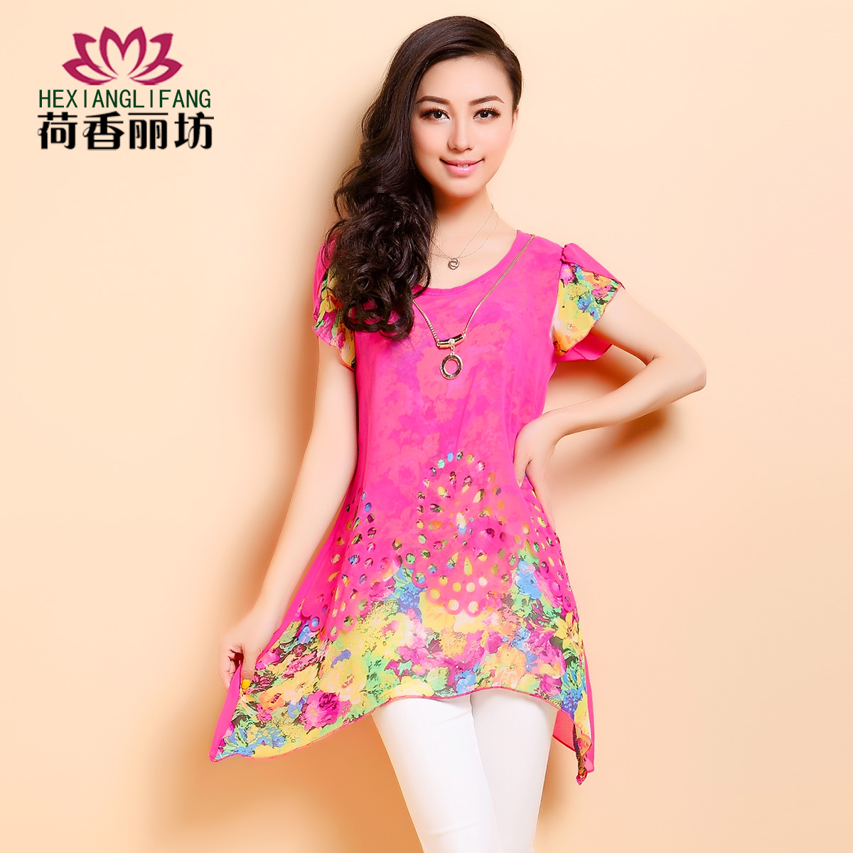Сян Li Фанг 2014 летних женщин шифон рубашка платье новый тонкий короткий рукав плюс размер костюм длинные рубашки