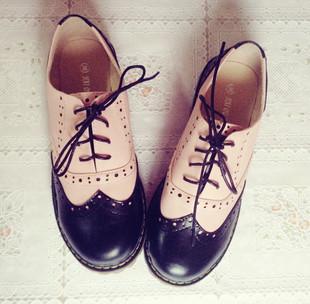 森系古着屋 粉黑拼色 复古牛津鞋 圆头 布洛克欧美风 vintage皮鞋