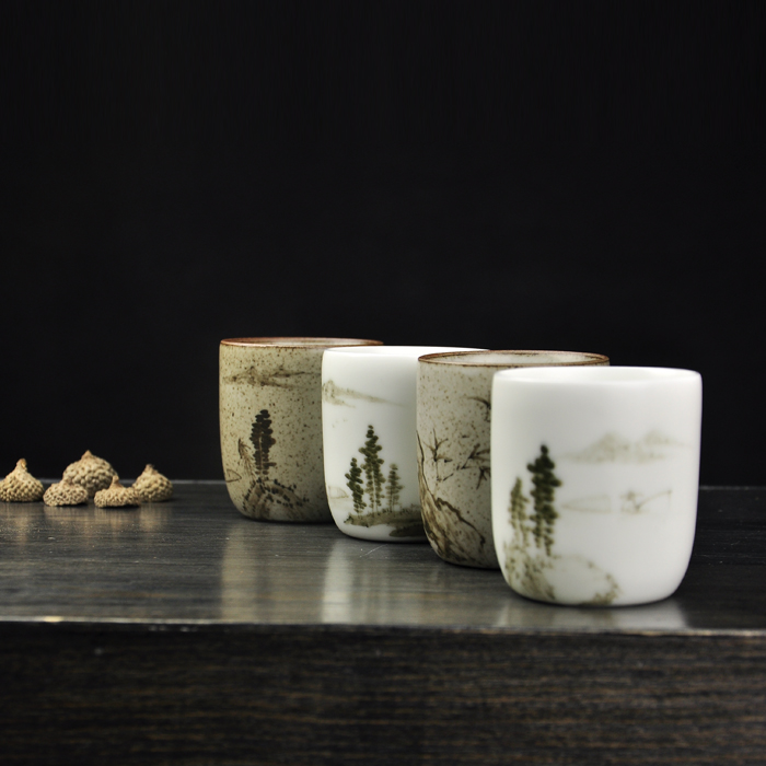 Jingdezhen Zhushan painting academy hand painted matte white glaze clay glaze landscape tea cup tea cup