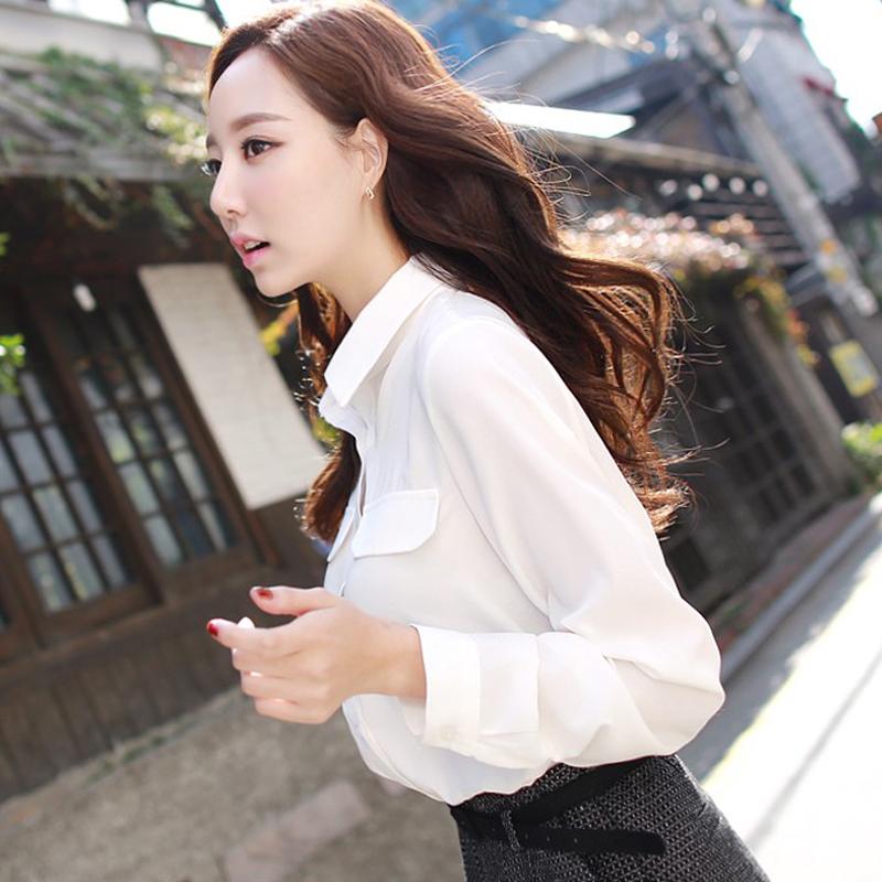 彩黛妃2018春夏新款韩版女装修身休闲打底长袖雪纺衬衫上衣衬衣