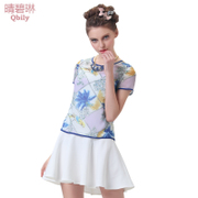 Fine bi Linda 2015 spring/summer new women's Europe and splice two piece short sleeve flounce chiffon printed dress