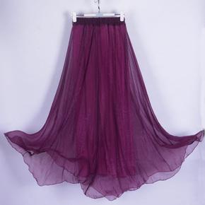 雪纺波西米亚半身裙沙滩裙显瘦仙女裙中长款民族风舞蹈裙纱裙