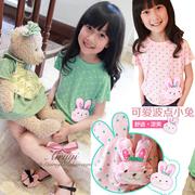 3折清仓 中大女童装 夏装新款波点小兔莫代尔棉舒适短袖T恤